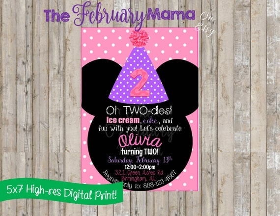 pink and purple minnie mouse invitation polka dot minnie mouse