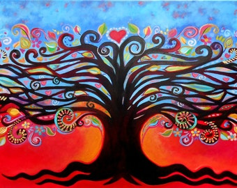 "Red Tree of Life - 36"" x 18"" Acrylic Painting"