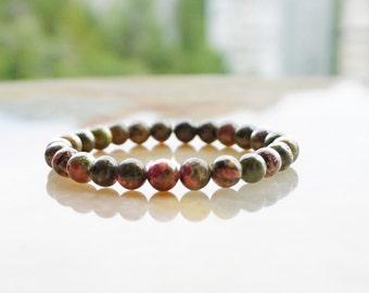 Unakite Bracelet,Unisex Jewelry,Beaded Bracelet,Gemstone Bracelet, Unakite Jewelry, Green Bracelet