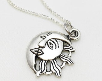 Sun and Moon Necklace - Antique Silver Jewelry - NEW