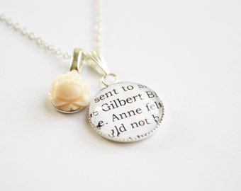 Anne of Green Gables page necklace. Lucy Maud Montgomery. Anne Shirley. Gilbert Blythe. Booklovers