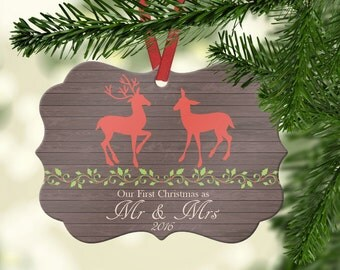 Personalized Our First Christmas as Mr and Mrs Ornament~ Deer~Christmas Ornament ~Just Married