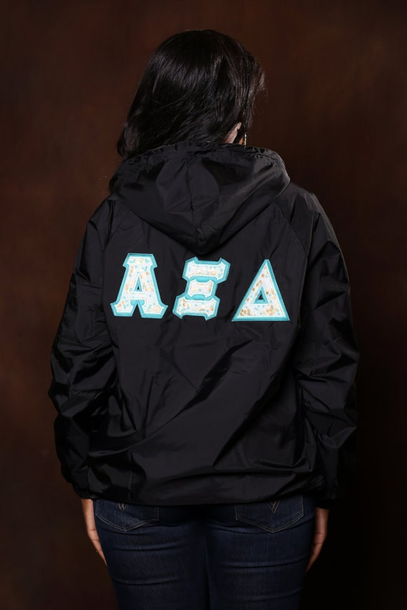 greek stitched letter rain jacket with monogram sorority With greek letter rain jacket