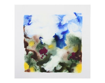 "encaustic art - abstract encaustic painting ""August"" - original encaustic landscape painting - contemporary art"