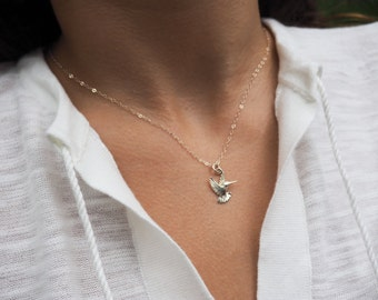 Hummingbird Necklace, Sterling Silver Hummingbird Necklace, Available in Silver, Gold and Rose Gold
