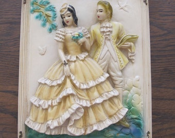 Vintage chalkware colonial couple wall decor/plaque-free shipping
