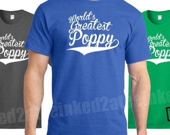 World's Greatest Poppy tshirt gifts for grandpa mens tshirts grandpop gifts