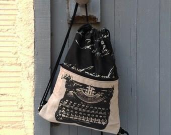 Drawstring backpack, Typewriter, canvas bag, rucksack, writer gift, typewriter working, book bag, teacher gift, gift for him,  light bag