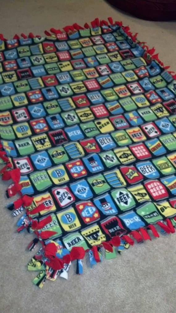 Beer Fleece Blanket Tie Blanket No Sew Fleece by ...