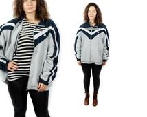 90s Grey Adidas jacket, Vintage Sport jacket, Light Tracksuit, Jogging suit, Long Sleeves Adidas, Zip Up Jacket, Men Woman Adidas / XL Large