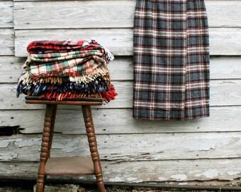 Winter Supplies - Wool Plaid Skirt  - Faux Wrap - Pencil Skirt - Preppy  - Gray - Red - Tartan - Susan Bristol