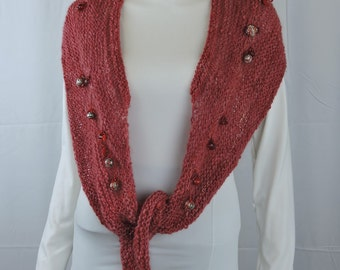 Red Beaded Collar SOFT Kid Mohair Merino Shoulder & Neck Accent Shawl Cowl features Boho Beaded Handspun Yarns