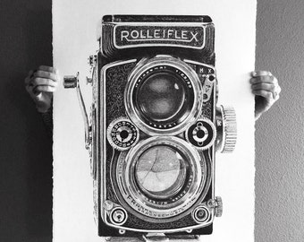 Rolleiflex by Ben Hucke, Pen and Ink Fine Art Stipple Camera Print