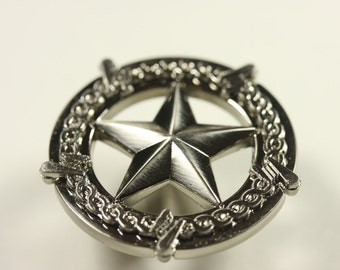 Western Style Star With Barbed Wire Knob - Satin Nickel