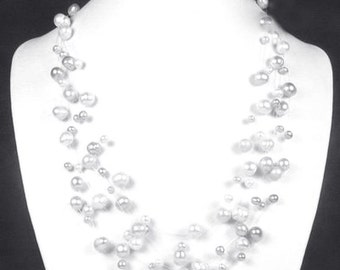 Bridal 925 Sterling Silver Freshwater White Pearl Floating Illusion Necklace