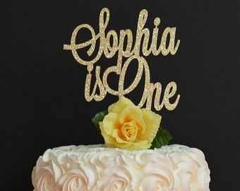 Personalized is One Birthday Cake Topper - First Birthday Glitter Cake Topper - 1st Birthday Cake Decoration - Name Cake Topper - Smash Cake