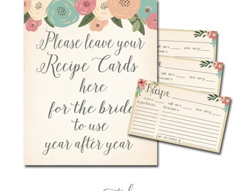 Recipe Card, Bridal Shower Recipe Card, Flowers Recipe Card, Fall Recipe Card Printable INSTANT DOWNLOAD