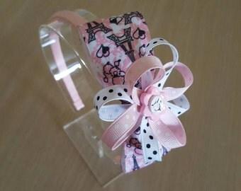 Pink Headband, Paris Headband, Plastic Headband, Flower Girl Headband, Easter Gifts, Christmas Gifts, Hair Accessories