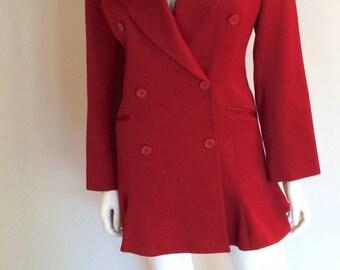 Vintage 1990's Norma Kamali Red Tuxedo Jacket Dress