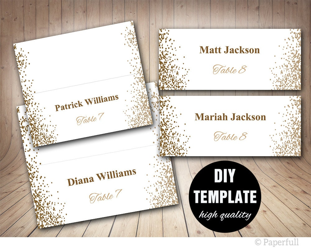 Printable placecards place cards weddinggold wedding place for Place card for wedding