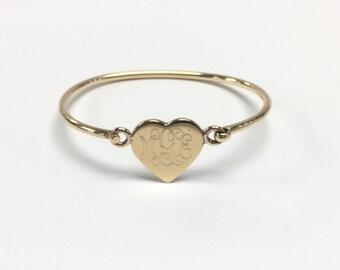 Engraved German Silver Heart Bangle