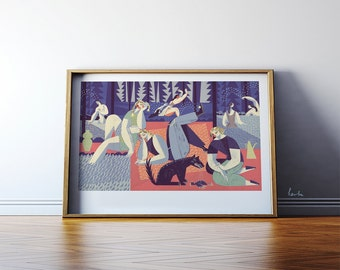 Picnic girls (Utopiec) illustration. Living room wall art. Giclée print on archival paper. Signed by artist. 50x70 cm picture.