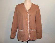 1970s Women Vintage Jacket Medium Camel Jacket Tan Polyester Jacket 70s Clothing Mad Men Clothing FREE SHIPPING Womens Vintage Clothing