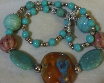 Baubles and Bling Necklace, Turquoise & caramel