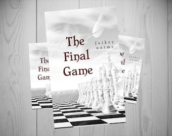 """Pre-Made eBook Cover """"The Final Game"""" (Minimalist/Chess Board/Black and White/Angel Feather)"""