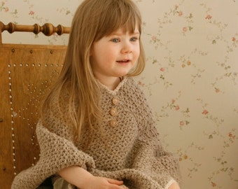 CROCHET PATTERN basic poncho Sam with V-neck and buttons (toddler/child sizes)