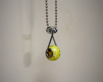 Yellow Swirl Clothespin Necklace