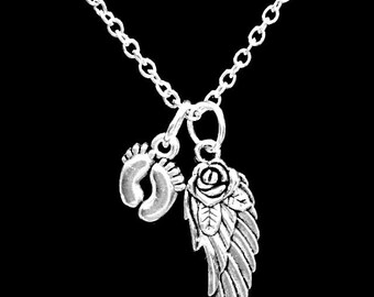 In Memory Necklace, Angel Baby, Guardian Angel Wing Baby Footprints Necklace, Child In Heaven, Miscarriage Necklace, Sympathy Gift Necklace