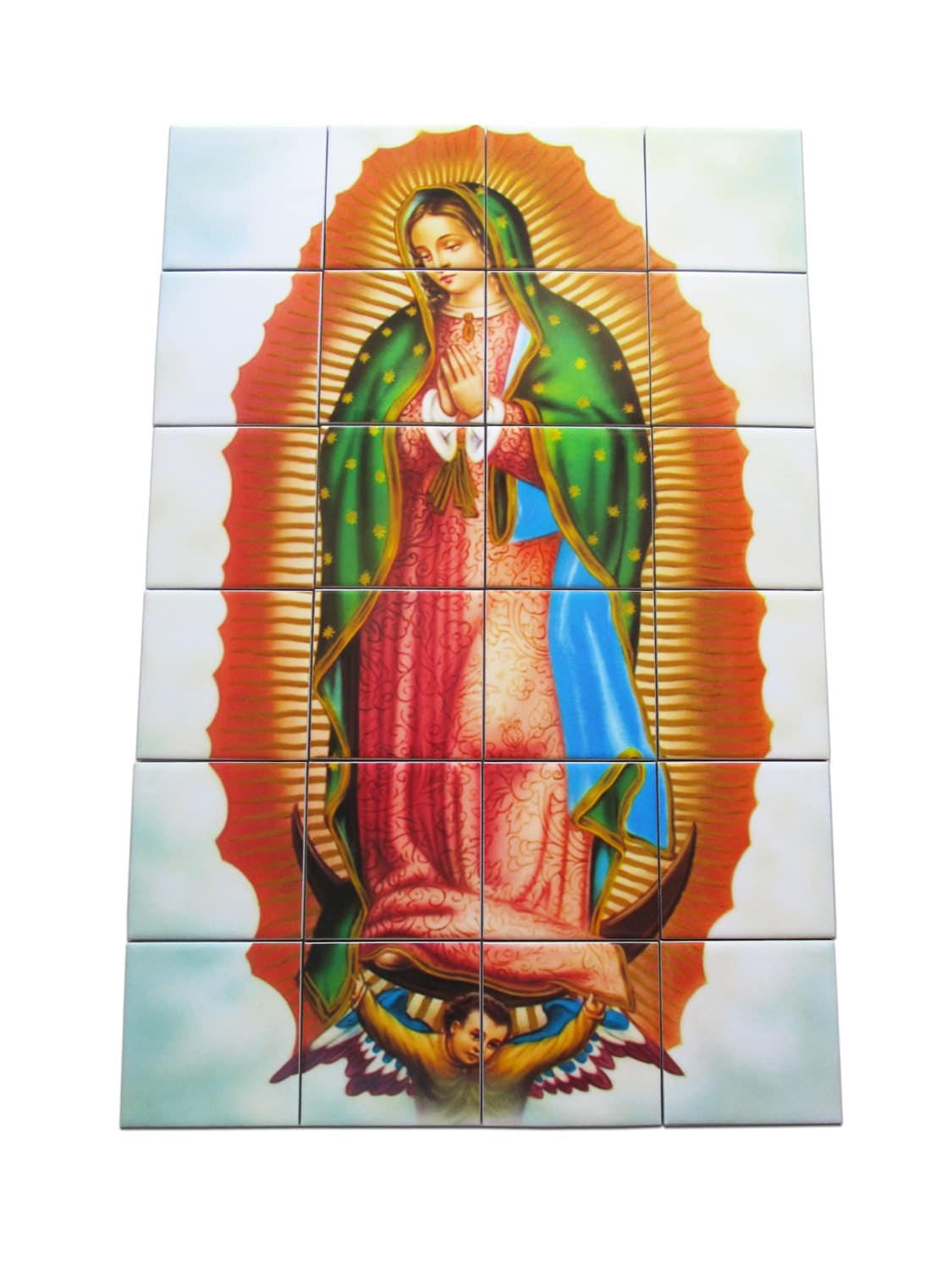 religious wall art virgin of guadalupe religious tile. Black Bedroom Furniture Sets. Home Design Ideas
