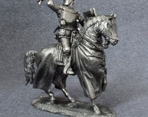 Tin toy SOLDIER metal miniature. 54mm. Mounted Medieval Knight with Axe. 1/32 scale. Cavalry figurine. Unpainted #6018AZ