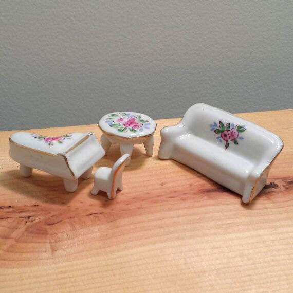 4 piece vintage miniature porcelain living room furniture set for 4 piece living room table set
