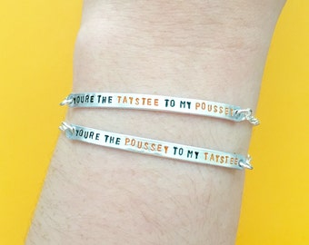"Customizable ""You're the Taystee/Poussey to my Poussey/Taystee"" Engraved Friendship Bracelet Set, Made to Order"