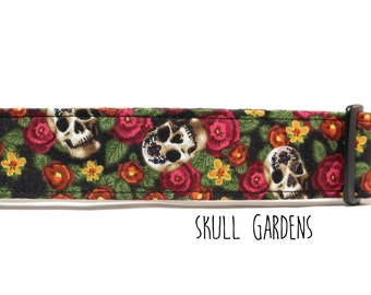 Skull Dog Collar, Girl Dog Collar, Sugar Skull Dog Collar, Flower Skulls, Calavera Dog Collar (Upgrade to Metal Buckle or Martingale)