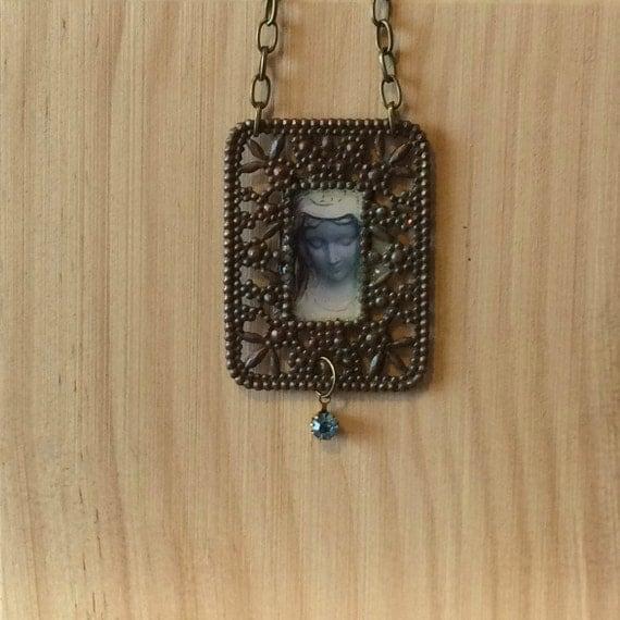 Virgin Mary pendant jewelry catholic art religious art