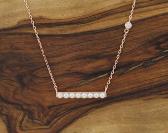 925 Sterling Silver Pearl Bar Necklace, Bridesmaid Jewelry