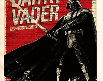 Star Wars - Darth Vader - Vintage Silhouette print - Retro Star Wars Art - Dictionary print art