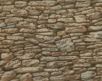 Rock Wall Landscape Fabric, Moda 15637 16 Modascapes Stone Wall Tan, Stone Wall Fabric, Stone Fabric, Landscape Quilt Fabric, Cotton