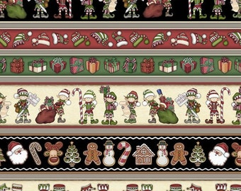Christmas Border Stripe Fabric, RJR 2320-001, Holly Jolly, Dan Morris, Elves, Toys, Candy Canes, Presents, Gingerbread, Christmas Stripe