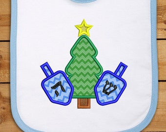 Christmas Tree and Dreidels Dual Holiday Applique Embroidery Design