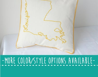 Louisiana State Embroidered  Decorative Throw Pillow Cover, United States New Orleans Baton Rouge Gift