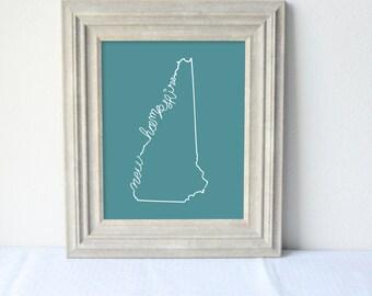 Printable New Hampshire State Art Print 8x10 Digital Wall Art Gift