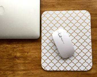 Gold Lattice Mouse Pad - cotton fabric surface