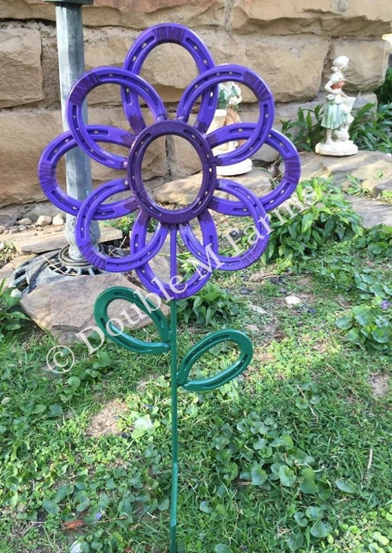 items similar to horseshoe flower garden art yard art
