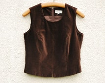 Brown Velveteen Vest Womens Top Sleeveless Zipper Formal Fitted Waistcoat Holiday Party Top Medium Size