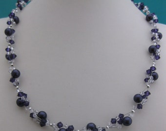 Swarovski crystal necklace (purple)