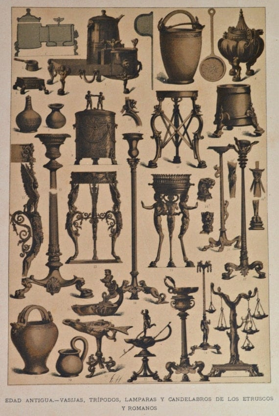 Roman and etruscan vessels, lamps. Ancient history. Antique print,1894.  121 years old print.  11,5 x 8,4 inches.